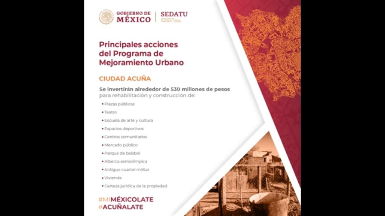 Acciones del Programa de Mejoramiento Urbano en Ciudad Acuña, Coahuila