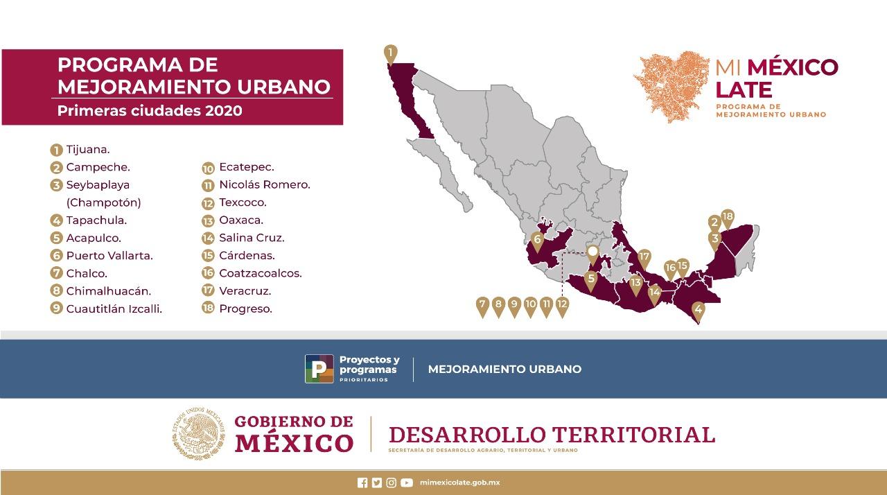 Define Sedatu primeras ciudades que intervendrá con el Programa de Mejoramiento Urbano 2020
